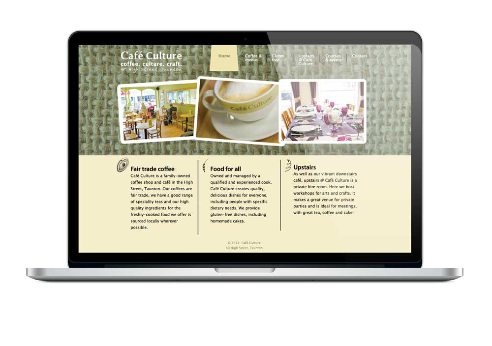 Cafe Culture Taunton website design