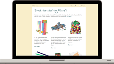 The Toy Barn email marketing campaign