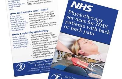 Body Logic Physiotherapy, Twickenham leaflet design