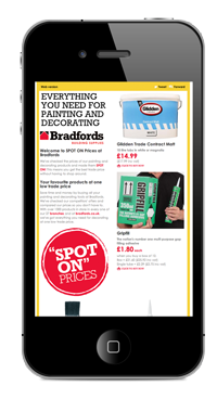 Email marketing campaign design for Bradfords in Yeovil, Somerset
