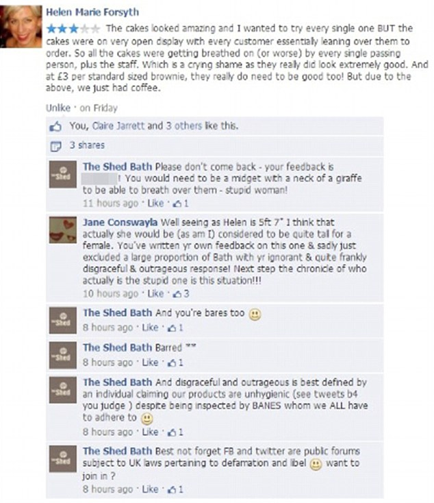 The Shed Cafe attacks customer on Facebook