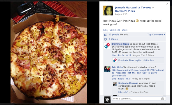 Dominos Pizza Facebook fail