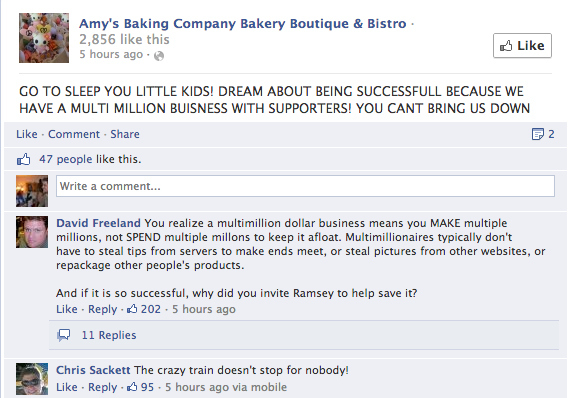 Amy's Baking Company Bakery Facebook Meltdown